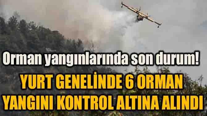 YURT GENELİNDE 6 ORMAN YANGINI KONTROL ALTINA ALINDI