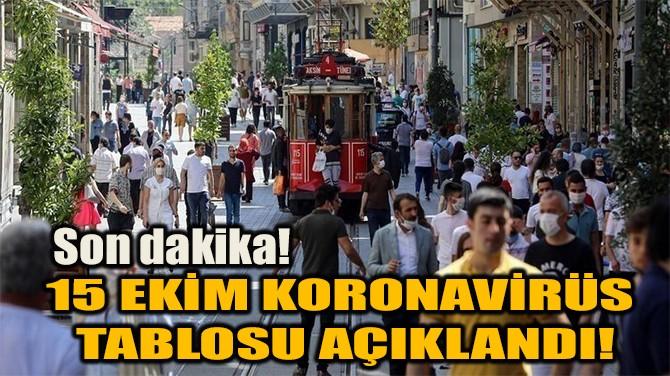 15 EKİM KORONAVİRÜS TABLOSU AÇIKLANDI!