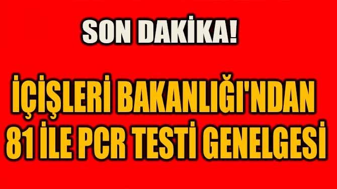 SON DAKİKA! İÇİŞLERİ BAKANLIĞI'NDAN 81 İLE PCR TESTİ GENELGESİ