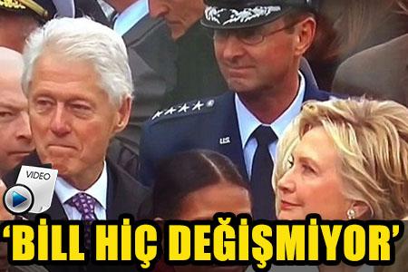 HILLARY CLİNTON'IN EŞİ BİLL'İN BAKIŞLARINI YAKALAMASI OLAY OLDU!