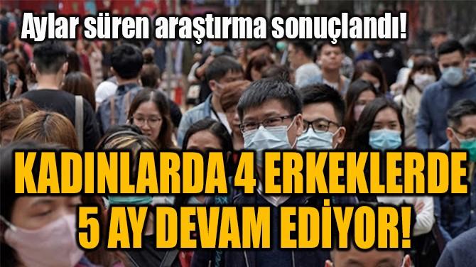 KADINLARDA 4 ERKEKLERDE  5 AY DEVAM EDİYOR!