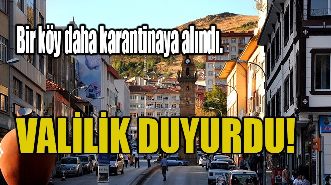 VALİLİK DUYURDU!