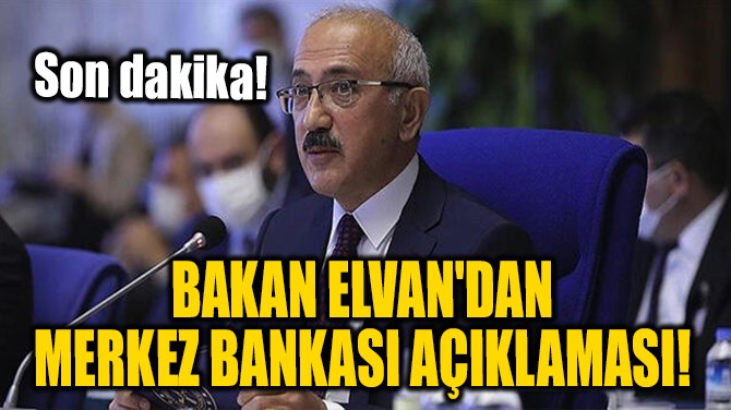 HAZİNE VE MALİYE BAKANI ELVAN'DAN MERKEZ BANKASI AÇIKLAMASI!