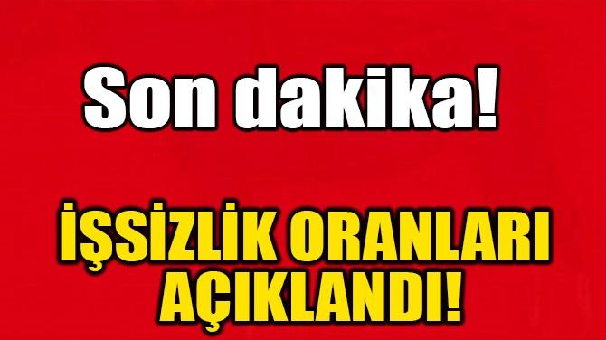 İŞSİZLİK ORANLARI AÇIKLANDI!