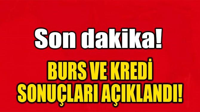 BURS VE KREDİ SONUÇLARI AÇIKLANDI!