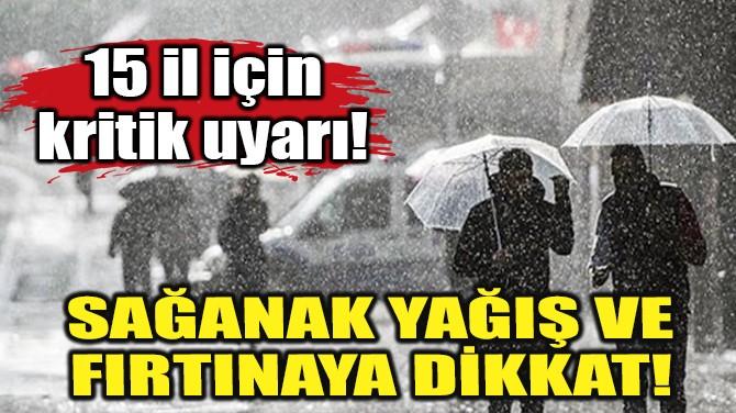 SAĞANAK YAĞIŞ VE FIRTINAYA DİKKAT!