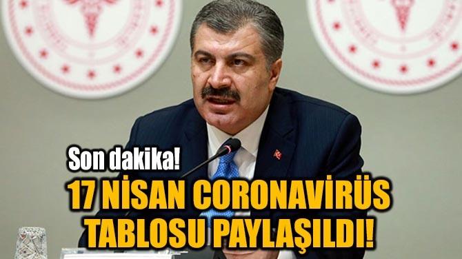 17 NİSAN CORONAVİRÜS TABLOSU PAYLAŞILDI!