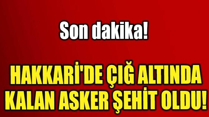 HAKKARİ'DE ÇIĞ ALTINDA KALAN ASKER ŞEHİT OLDU!