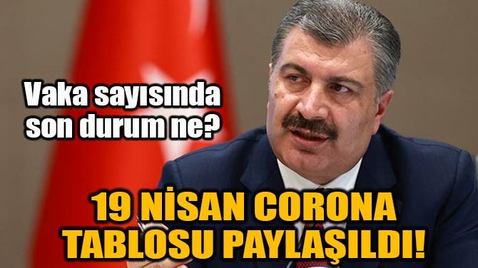 19 NİSAN CORONA TABLOSU PAYLAŞILDI!