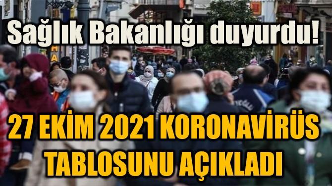 27 EKİM 2021 KORONAVİRÜS TABLOSUNU AÇIKLANDI