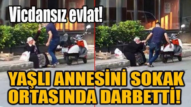 YAŞLI ANNESİNİ SOKAK ORTASINDA DARBETTİ!