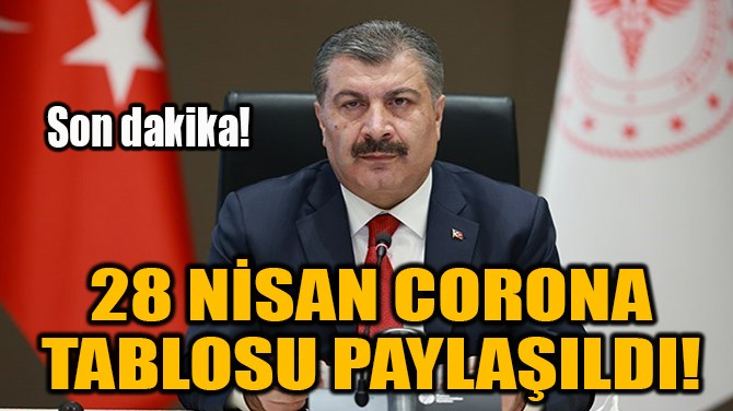 28 NİSAN CORONA TABLOSU PAYLAŞILDI!