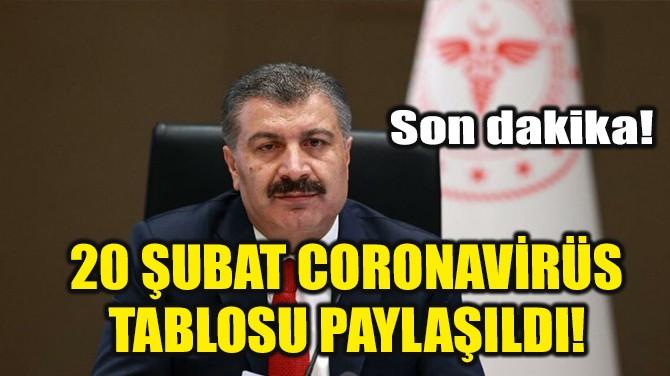 20 ŞUBAT CORONAVİRÜS TABLOSU PAYLAŞILDI!