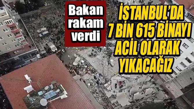 İSTANBUL'DA 7 BİN 615 BİNA ACİL OLARAK YIKILACAK