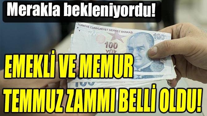 EMEKLİ VE MEMUR TEMMUZ ZAMMI BELLİ OLDU!