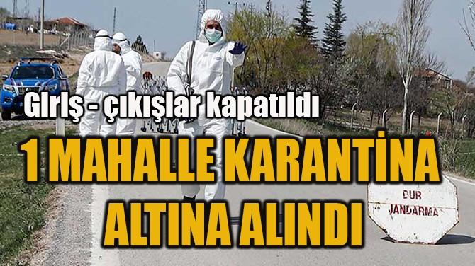 1 MAHALLE KARANTİNA  ALTINA ALINDI