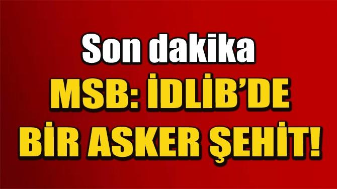 MSB: İDLİB'DE BİR ASKER ŞEHİT!