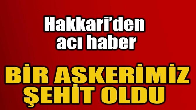 HAKKARİ'DEN ACI HABER