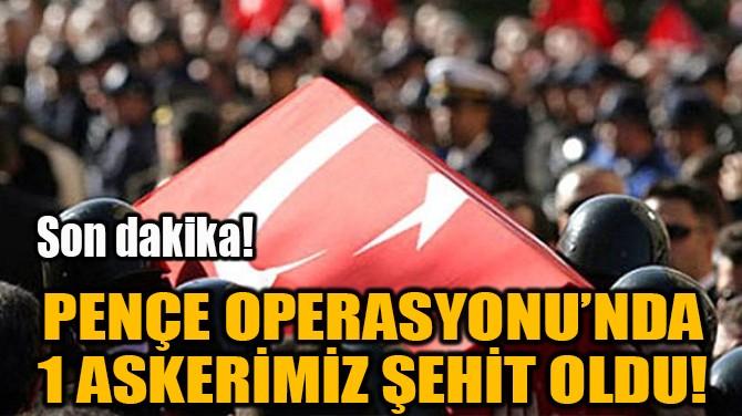 PENÇE OPERASYONU'NDA 1 ASKERİMİZ ŞEHİT OLDU!