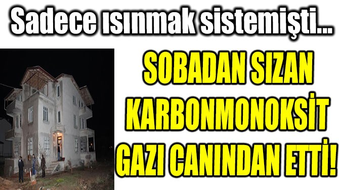 SOBADAN SIZAN KARBONMONOKSİT GAZI CANINDAN ETTİ!