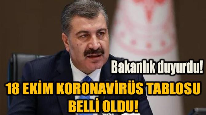 18 EKİM KORONAVİRÜS TABLOSU BELLİ OLDU!