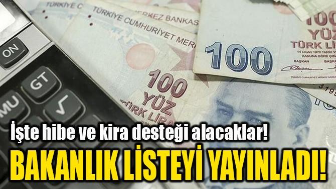 BAKANLIK LİSTEYİ YAYINLADI!
