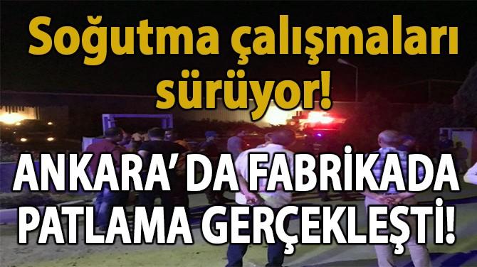 ANKARA'DA FABRİKADA PATLAMA!