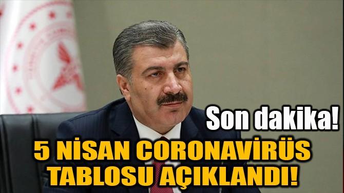 5 NİSAN CORONAVİRÜS TABLOSU AÇIKLANDI!