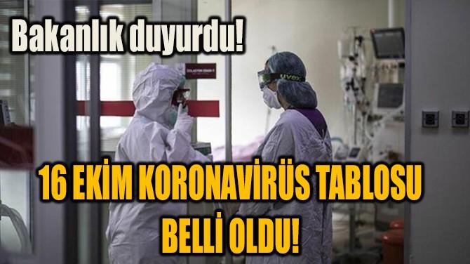 16 EKİM KORONAVİRÜS TABLOSU BELLİ OLDU!