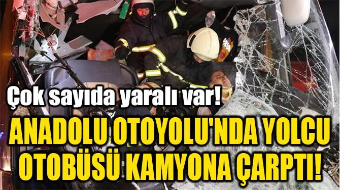ANADOLU OTOYOLU'NDA YOLCU  OTOBÜSÜ KAMYONA ÇARPTI!