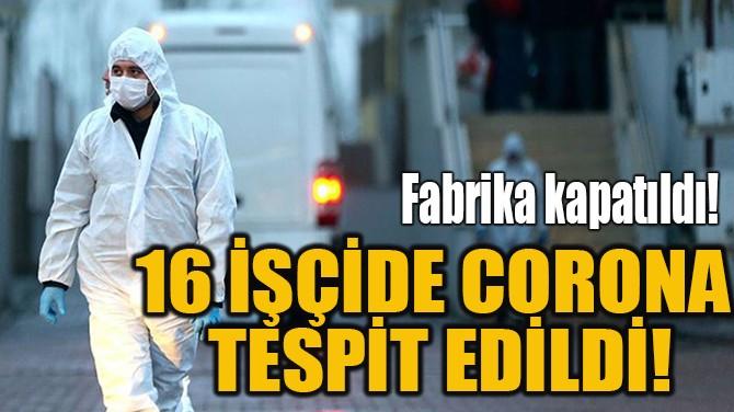 16 İŞÇİDE CORONA TESPİT EDİLDİ!