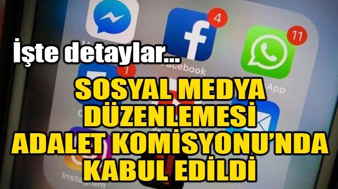SOSYAL MEDYA DÜZENLEMESİ ADALET KOMİSYONU'NDA KABUL EDİLDİ