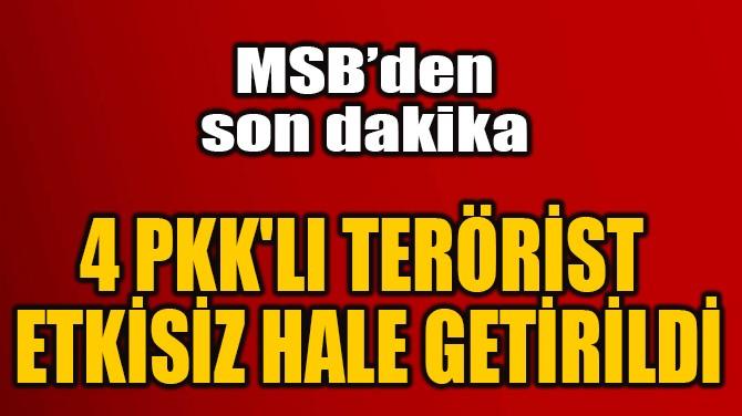 4 PKK'LI TERÖRİST  ETKİSİZ HALE GETİRİLDİ