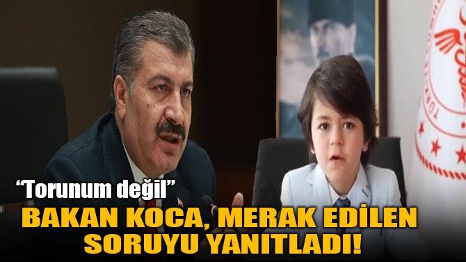 BAKAN KOCA, MERAK EDİLEN  SORUYU YANITLADI!