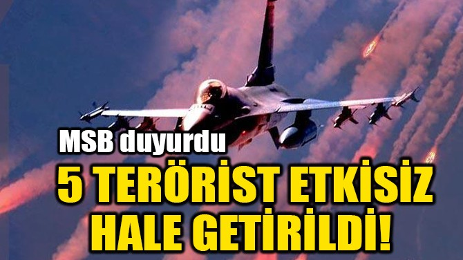 5 TERÖRİST ETKİSİZ HALE GETİRİLDİ!
