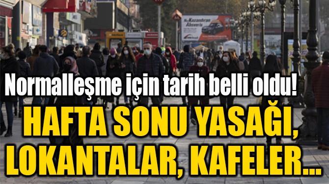 HAFTA SONU YASAĞI,  LOKANTALAR, KAFELER...