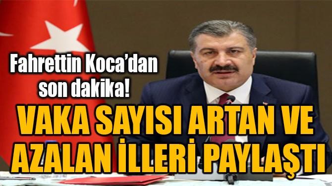 VAKA SAYISI ARTAN VE  AZALAN İLLERİ PAYLAŞTI!
