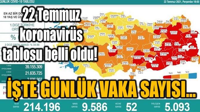 22 TEMMUZ KORONAVİRÜS TABLOSU BELLİ OLDU!