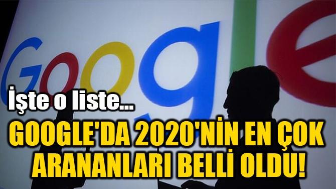 GOOGLE'DA 2020'NİN EN ÇOK  ARANANLARI BELLİ OLDU!