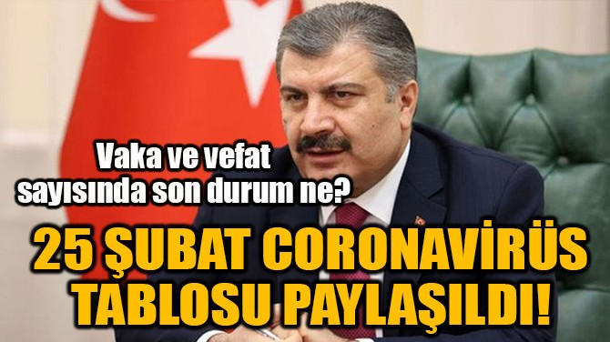 25 ŞUBAT CORONAVİRÜS TABLOSU PAYLAŞILDI!