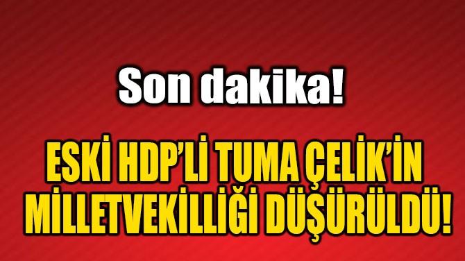 TUMA ÇELİK'İN VEKİLLİĞİ DÜŞÜRÜLDÜ!