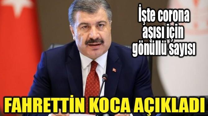 """FAHRETTİN KOCA, """"20 BİN GÖNÜLLÜ BAŞVURDU"""""""