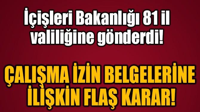 ÇALIŞMA İZİN BELGELERİNE  İLİŞKİN FLAŞ KARAR!