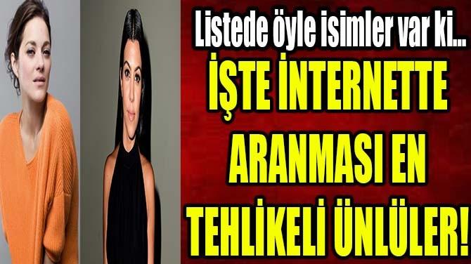 İŞTE İNTERNETTE ARANMASI EN TEHLİKELİ ÜNLÜLER!