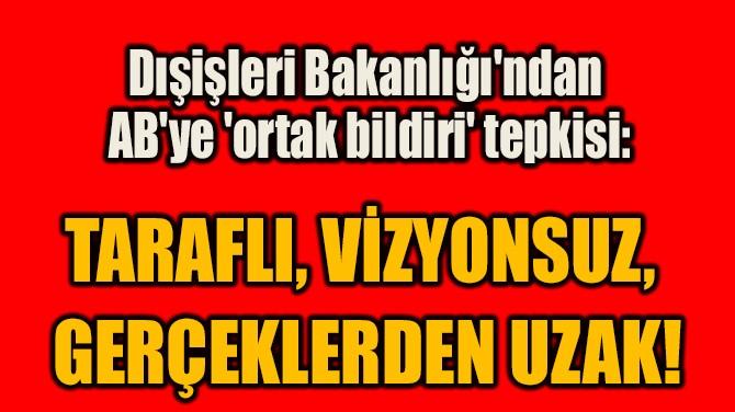 DIŞİŞLERİ BAKANLIĞI'NDAN AB'YE 'ORTAK BİLDİRİ' TEPKİSİ!