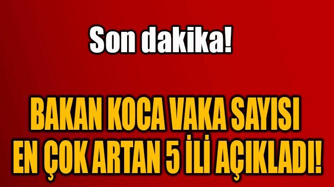 BAKAN KOCA VAKA SAYISI  EN ÇOK ARTAN 5 İLİ AÇIKLADI!
