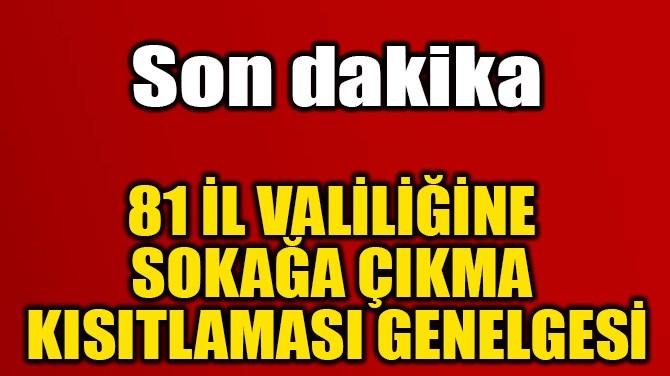 81 İL VALİLİĞİNE SOKAĞA  ÇIKMA KISITLAMASI GENELGESİ