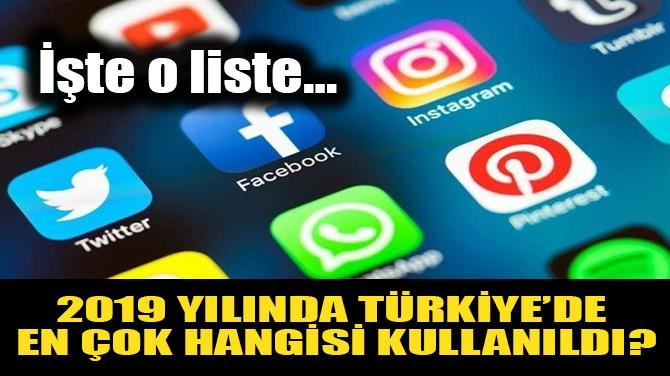 2019 YILINDA TÜRKİYE'DE EN ÇOK HANGİSİNİ KULLANDI