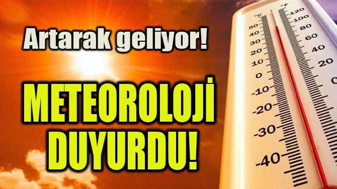 METEOROLOJİ DUYURDU!