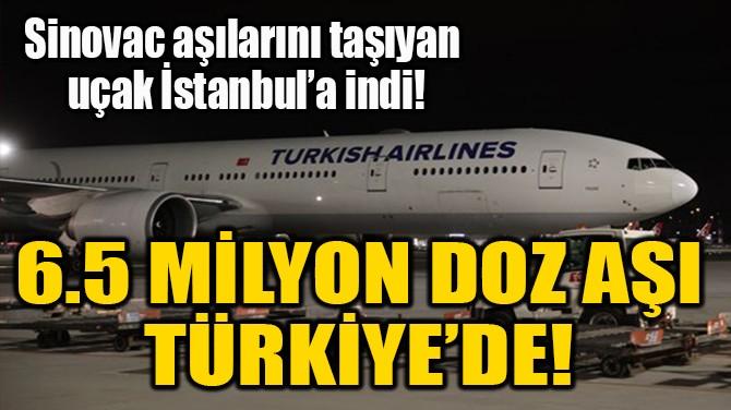 6.5 MİLYON DOZ AŞI  TÜRKİYE'DE!
